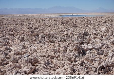 View of the Salar de Atacama, the largest salt flat in Chile - stock photo