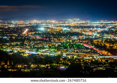 View of the San Fernando Valley from the Universal City Overlook on Mulholland Drive, in Los Angeles, California. - stock photo
