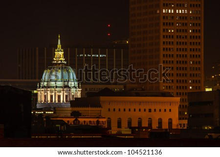 View of the San Francisco city hall dome at night - stock photo