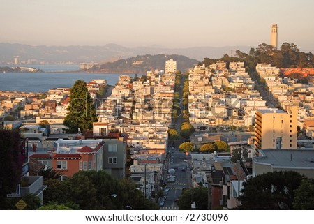 View of the San Francisco during the sunset. - stock photo