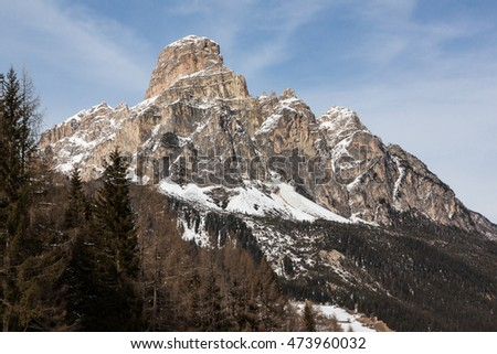 View of the Sassongher with snow in the Italian Dolomites