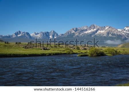 View of the Sawtooth Mountain Range in Idaho - stock photo