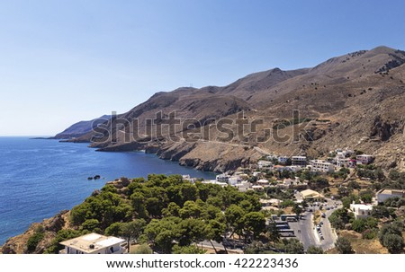 View of the sea and the mountains on the Greek island of Crete