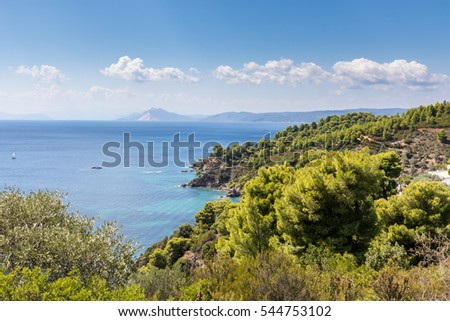 view of the sea by skiathos island in greece