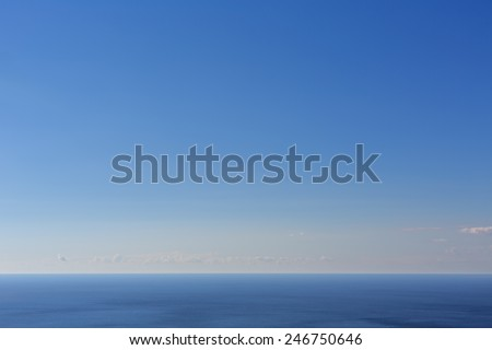 View of the sea on a sunny day from height - stock photo