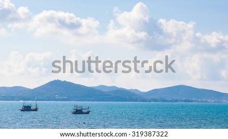 View of the sea, Sattahip in the province Chonburi, Thailand. - stock photo