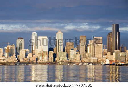 View of the Seattle skyline at sunset - stock photo