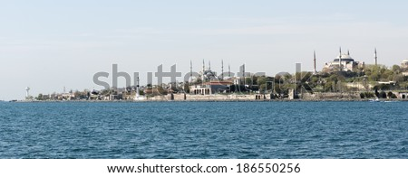 View of the Seraglio Point (Sarayburnu) with the Topkapi Palace in Istanbul, Turkey. This is a famous historical site, surrounded by the waters of the Golden Horn, the Bosphorus and the Marmara Sea.  - stock photo