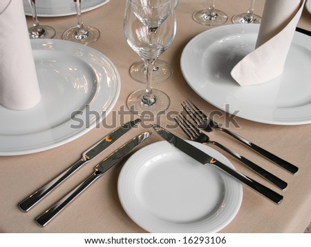 View of the served table in a french restaurant - stock photo