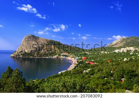View of the settlement of the Noviy Svet, the surrounding mountains and Green bay in Crimea  - stock photo