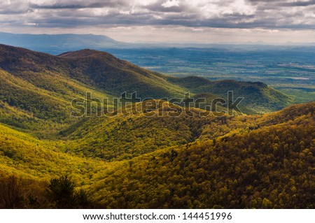 View of the Shenandoah Valley and foothills of the Blue Ridge from Blackrock Summit, in Shenandoah National Park, Virginia. - stock photo