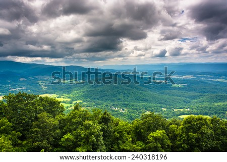 View of the Shenandoah Valley from Skyline Drive, Shenandoah National Park, Virginia. - stock photo