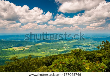 View of the Shenandoah Valley from the Appalachian Trail in Shenandoah National Park, Virginia. - stock photo