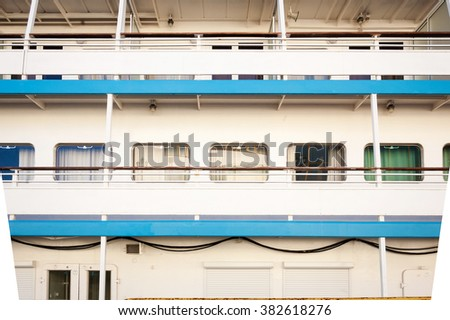 view of the ship's cabins - stock photo