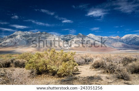 View of the Sierra Mountain Range from the Owens Valley - stock photo