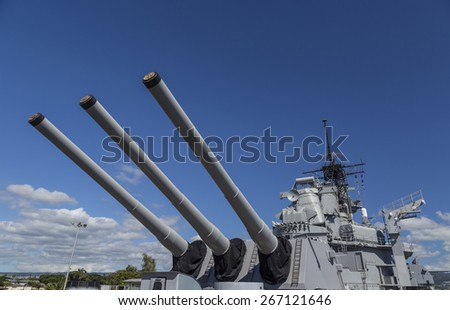 View of the sixteen inch guns on the Rear main deck of the historic battleship USS Missouri, anchored at Pearl Harbor. - stock photo