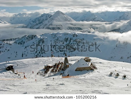 View of the ski area Penken - Mayrhofen, Austria - stock photo