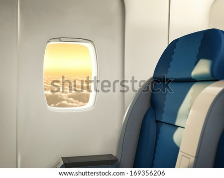 View of the sky and clouds from the airplane. - stock photo