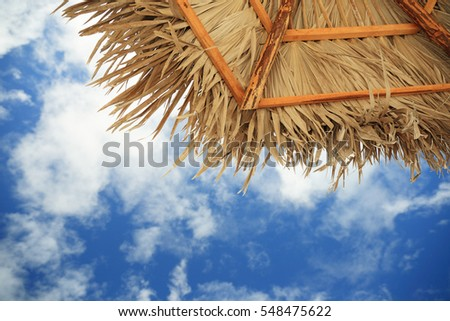 view of the sky from under a parasol of palm leaves at resort