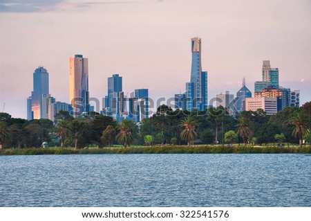 View of the skyline at sunset from a park in Melbourne, Australia