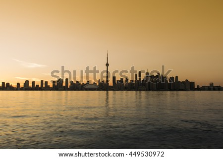 View of the Skyline of Toronto at sunset from Centre Island - stock photo