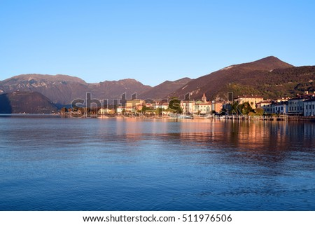 View of the small town of Iseo and Lake Iseo in Brescia - Italy