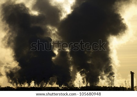 view of the smoke produced by a polluting industry in Saragossa, Aragon, Spain