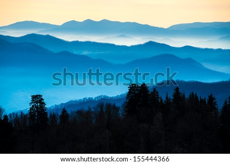 View of the Smoky Mountains from Route 441 Newfound Gap - stock photo