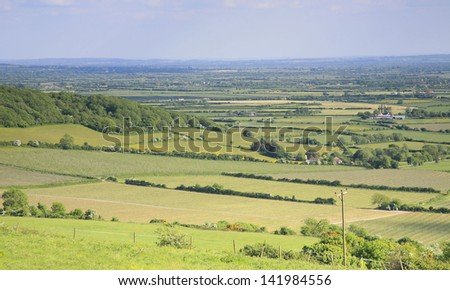 View of the Somerset levels looking out towards Glastonbury