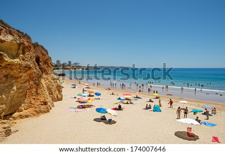 View of the South coast in the Algarve in Portugal - stock photo