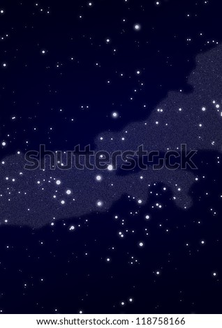 View of the southern part of the Milky Way both Zodiac constellations Scales and Scorpion - stock photo
