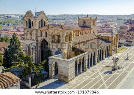 View of the Spanish city of Avila, you can see the Basilica of San Vicente - stock photo