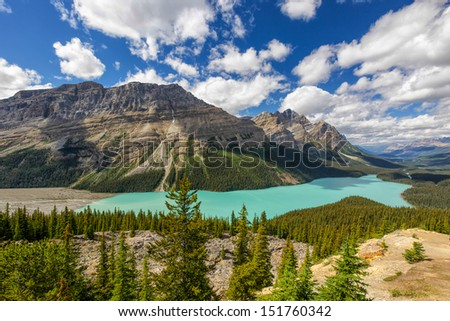 View of the spectacular Peyto Lake in Banff National Park, Alberta, Canada. - stock photo