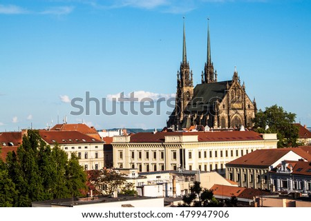 View of the St, Peter and Paul cathedral in Brno, Czech Republic