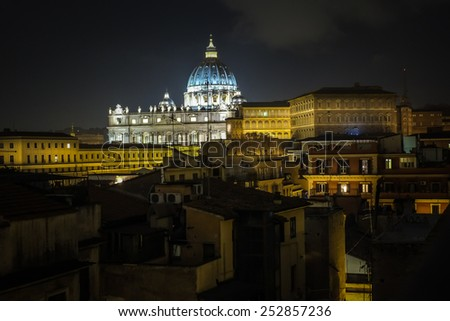 View of the St Peter's Basilica and Vatican city - stock photo