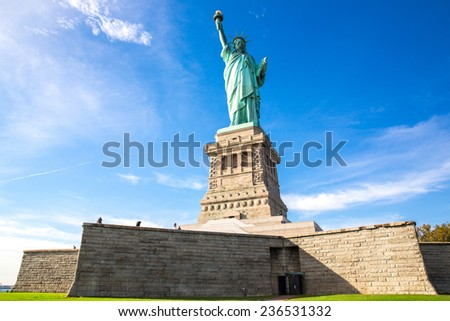 View of the Statue of Liberty in New York, USA.  - stock photo
