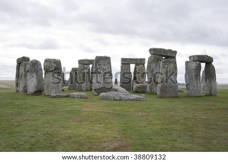 View of the Stonehenge stones circle in a cloudy day - stock photo