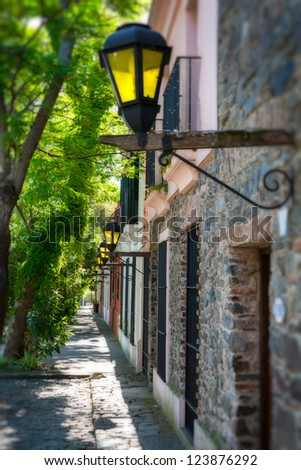 View of the street in Colonia del Sacramento in Uruguay. - stock photo