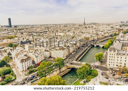 View of the streets of Paris and river seine from Notre Dame cathedral - stock photo