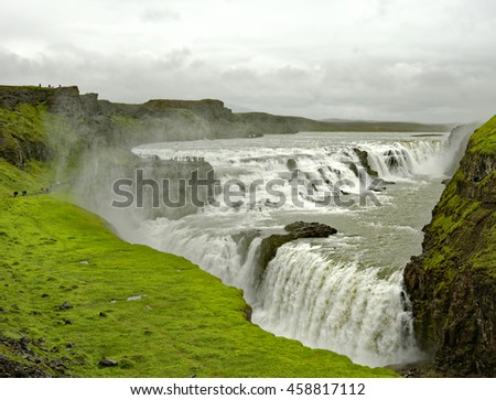View of the striking Gullfoss Waterfall on the Hvita River in Iceland