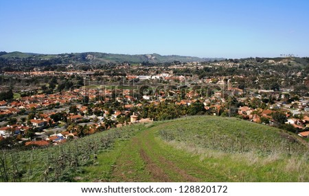 View of the suburbs from a hillside, Orange County, California - stock photo