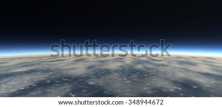 View of the surface of the earth from space. Large clouds. No stars. White and blue lights. 3D Illustration, 3D rendering