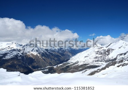 View of the surroundings Gornergratt, Switzerland. may 2012 - stock photo