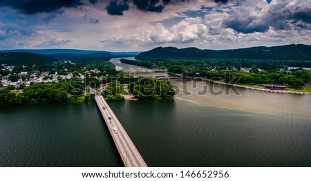 View of the Susquehanna River and town of Northumberland, Pennsylvania from Shikellamy State Park. - stock photo