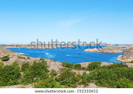 View of the Swedish archipelago on the west coast - stock photo