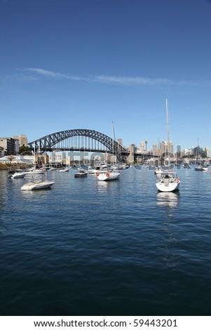 View of the Sydney Harbour Bridge across Lavender Bay. Sydney New South Wales, Australia. - stock photo