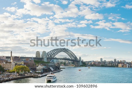 View of the Sydney Harbour Bridge from the sea - stock photo