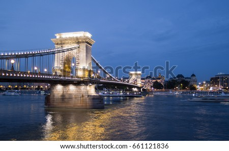 View of the Szechenyi Chain Bridge, in Budapest downtown, Hungary.