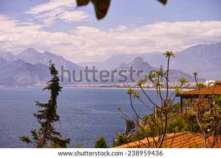 View of the Taurus mountains from Antalya - stock photo