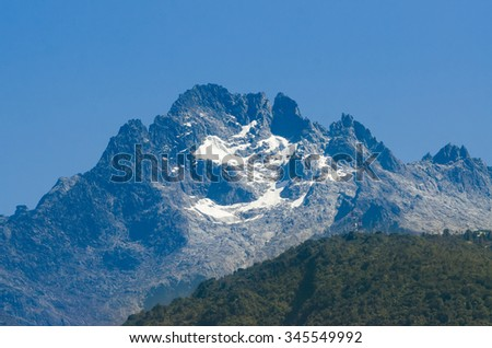View of the top of Bolivar Peak, Venezuela's highest mountain, with aproximately 5000 mts of height - stock photo